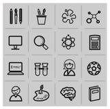 Icônes d'éducation, signes, ensemble d'illustration de vecteur Photos stock