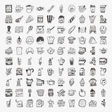 100 icônes d'élément de café de griffonnage réglées Images stock