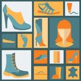 Icônes d'éléments de chaussures réglées Facilement édité Images libres de droits