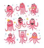 Icônes d'émoticône de poulpe avec des déguisements mignons drôles de Marine Animal Characters In Different de bande dessinée à la Image stock