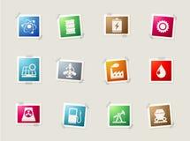 Icônes d'énergie et d'industrie réglées Image stock