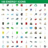 100 icônes d'énergie réglées, style de bande dessinée illustration stock