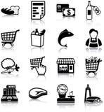 Icônes d'épicerie Photographie stock