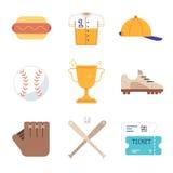 Icônes d'équipement de jeu de baseball réglées illustration stock
