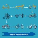 Icônes d'évolution de bicyclette plates Photographie stock