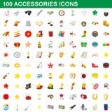 100 icônes d'accessoires réglées, style de bande dessinée illustration stock