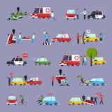 Icônes d'accident de la route réglées Images libres de droits