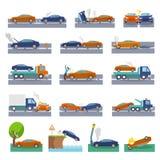 Icônes d'accident de voiture Images libres de droits