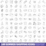 100 icônes d'achats d'été réglées, style d'ensemble Image libre de droits