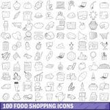 100 icônes d'achats de nourriture réglées, style d'ensemble Image libre de droits