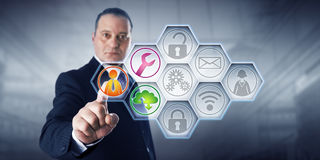 Icônes d'Activating Managed Services d'homme d'affaires Photos stock