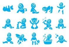 Icônes d'activités de bébé illustration stock