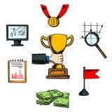 Icônes d'affaires, d'accomplissement et de succès Image libre de droits
