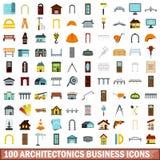 100 icônes d'affaires d'architectonics réglées, style plat illustration stock