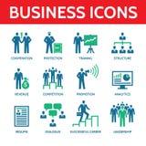 12 icônes d'affaires de vecteur dans des couleurs bleues et vertes Photographie stock