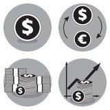 Icônes d'affaires en noir et blanc Icône de vecteur du dollar Dollars d'échange pour des euro Photographie stock