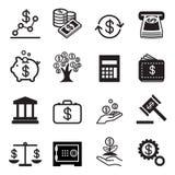 Icônes d'affaires et de finances réglées Image libre de droits