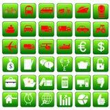 Icônes d'affaires et de transport Photographie stock