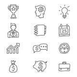 Icônes d'affaires sur un fond blanc Images stock