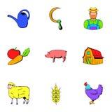 Icônes d'agriculteur réglées, style de bande dessinée Photos libres de droits