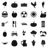 Icônes d'agriculteur réglées, style simple Photographie stock