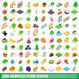 100 icônes d'agriculture réglées, style 3d isométrique Images libres de droits