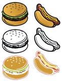 Icônes d'aliments de préparation rapide Images stock