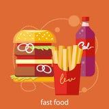 Icônes d'aliments de préparation rapide Image stock