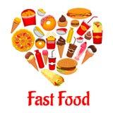 Icônes d'aliments de préparation rapide dans l'emblème de forme de coeur Photo libre de droits