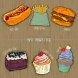 Icônes d'aliments de préparation rapide et de gâteaux pour le menu de restaurant Illustration tirée par la main Vecteur Photos stock