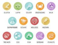 Icônes d'allergie alimentaire d'allergène Illustration de Vecteur