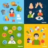 Icônes d'allergies réglées Photos stock