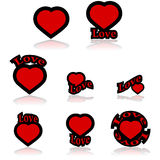 Icônes d'amour Photos libres de droits