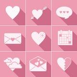 Icônes d'amour de courrier Photos stock
