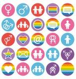 Icônes d'amour, de famille et d'homosexuels réglées. Images libres de droits