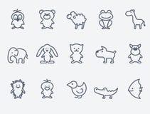 Icônes d'animal de bande dessinée illustration de vecteur
