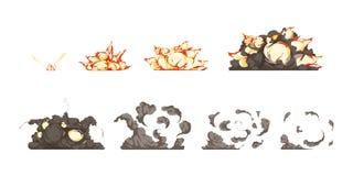 Icônes d'animation d'explosion réglées Images stock