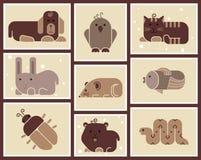 Icônes d'animaux de zoo Photographie stock