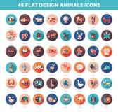 Icônes d'animaux sauvages et domestiques de conception plate réglées Images stock