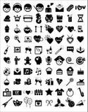 Icônes d'anniversaire de partie de célébration Photos libres de droits