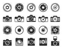 Icônes d'appareil-photo d'obturateur de caméra et de photo d'isolement sur le blanc Image libre de droits