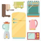 Icônes d'appareils de cuisine réglées, vaisselle de cuisine Image stock