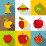 Icônes d'Apple réglées, style plat Images libres de droits