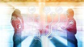 Ic?nes d'applications ?conomiques sur le fond brouill? Financier et commerce Concept de technologie d'Internet photo libre de droits