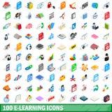 100 icônes d'apprentissage en ligne réglées, style 3d isométrique Photographie stock libre de droits