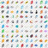 100 icônes d'apprentissage en ligne réglées, style 3d isométrique Image stock