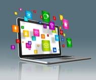 Icônes d'apps d'ordinateur portable et de vol sur un fond futuriste Photographie stock