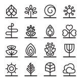 Icônes d'arbre dans la ligne style mince Images libres de droits
