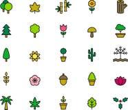 Icônes d'arbre, de fleur et de plante Photo stock
