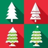 Icônes d'arbre de Noël de vecteur réglées Image libre de droits